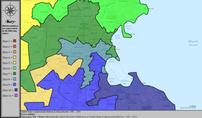 United States Congressional Districts in Massachusetts (metro highlight), 1993 – 2002.tif