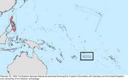 Map of the change to the United States in the Pacific Ocean on February 16, 1900