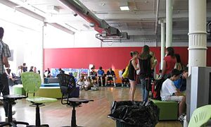 Ao Tawhiti - Students in the Southern Star building during orientation week in 2011, pre-earthquake.