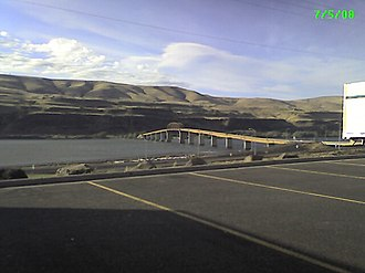 U.S. Route 97 - US 97 carried over the Columbia River by the Sam Hill Memorial Bridge, seen from Biggs Junction