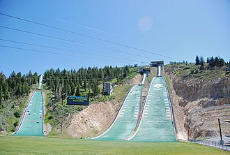 Utah Olympic Park - Three of the park's ski jumps shown during the summer