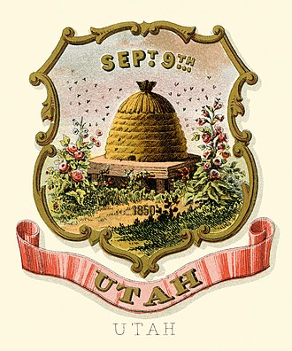 Utah Territory - Image: Utah territory coat of arms (illustrated, 1876)