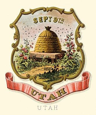 Utah Territory - Image: Utah territory coat of arms (illustrated, 1876)