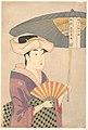 Utamaro (c. 1792–93) Sensu o Mochi Higasa o Sasu Onna (Met).jpg
