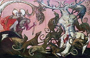 "Vasiliy Ryabchenko - Vasiliy Ryabchenko. ""The Death of Actaeon"", 200 х 300 cm, oil on canvas, 1988"