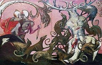 """Vasiliy Ryabchenko - Vasiliy Ryabchenko. """"The Death of Actaeon"""", 200 х 300 cm, oil on canvas, 1988"""
