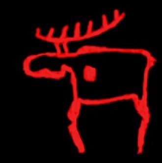 Art in Finland - Rock art elk from Finland.