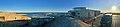 Verdens ende, Tjøme, Norway. Færder National Park visitors' centre. View of Oslofjorden. Port, breakwater, tipping lantern, etc. (tusenårssted, promenadebrygge,vippefyr). Sunset. Cropped, distorted panorama 2018-09-12.jpg