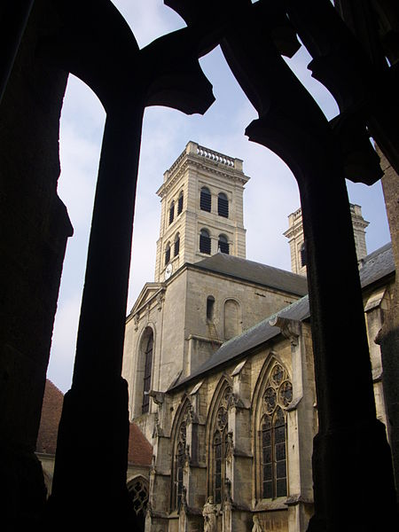 Towers of Our Lady cathedral of Verdun (Meuse, France) seen from the cloister