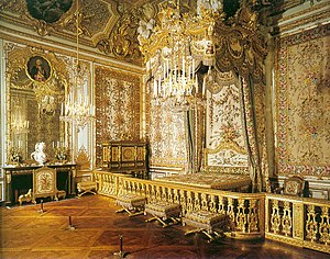 Grand appartement de la reine - The Queen's bedchamber. There is a barely discernible hidden door in the corner near the jewel cabinet by Schwerdfeger (1787) through which Marie Antoinette escaped the night of 5/6 October 1789 when the Paris mob stormed Versailles.