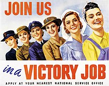 Australian women were encouraged to contribute to the war effort by joining one of the female branches of the armed forces or participating in the labour force Victory job (AWM ARTV00332).jpg