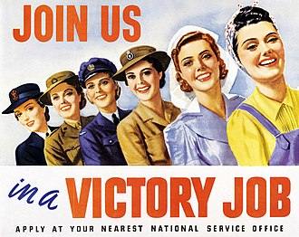 Australian women were encouraged to contribute to the war effort by joining one of the female branches of the armed forces or participating in the labour force. Victory job (AWM ARTV00332).jpg