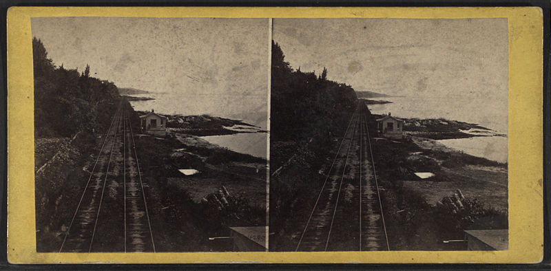 File:View, looking south on the Hudson River R.R. near the Prison, with the Guard House, from Robert N. Dennis collection of stereoscopic views.jpg