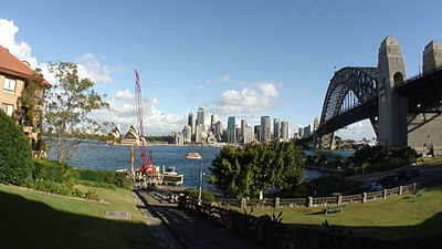 Picture of Sydney Harbour taken from Jeffrey Street showing the harbour, city and Sydney Harbour Bridge