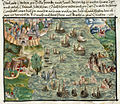 View of Lisbon with ships tossed about - Cöler family album (1560-1632), f.32 - BL Add MS 15217.jpg