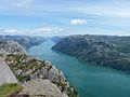 View of Lysefjord from Preikestolen.jpg