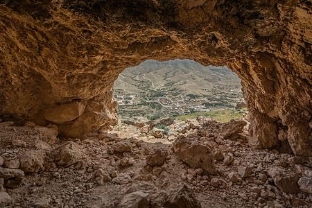 Typical view from a cave in the mountain Orbata of the berber village of Snad which lies at the bottom and inside the mountain Orbata in Gafsa