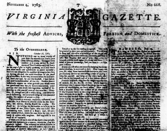 Virginia Gazette 11 04 1763