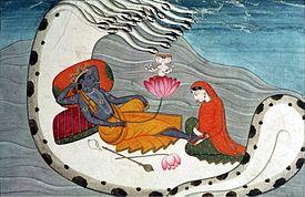 Vishnu and Lakshmi on Shesha Naga, ca 1870