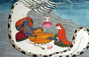 Shesha - Vishnu resting on Ananta-Shesha, with his holy wife Lakshmi, who is massaging his feet