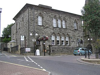 Dungannon - Dungannon's Visitor Centre, Ranfurly House, at the top of Market Square. Castle Hill is behind it.