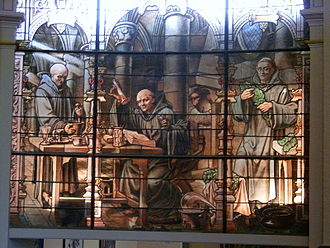 Alexandre Le Grand (merchant) - The legend of Bénédictine in stained glass, at the Palais Bénédictine.