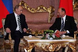2008 Bucharest summit - Romanian President Traian Băsescu and Russian President Vladimir Putin, before NATO summit, in Bucharest, on 4 April 2008.