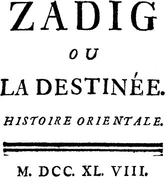 The Three Princes of Serendip - Title page of Voltaire's Zadig