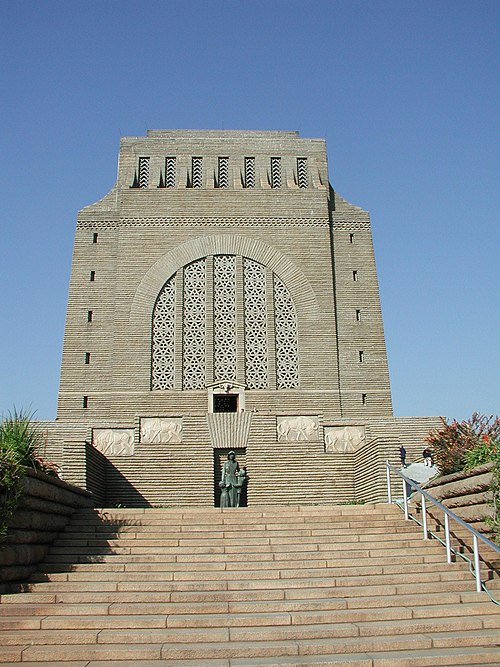Voortrekker Monument, Afrikaner nationalistic monument in the honour of the people that took part in the Great Trek. The architect Gerard Moerdijk described it as a &quotmonument that would stand a thousands of years to describe the history and the meaning of the Great Trek to it descendants&quot.[12] - Afrikaner nationalism