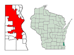 Location of Milwaukee in Milwaukee County, Wisconsin