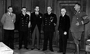 Mihály Teleki (politician) - Teleki (third from L) with Walter Darre (fourth) and Döme Sztójay (fifth) in 1940