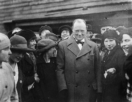 Churchill meets female workers at Georgetown's filling works near Glasgow, October 1918 War Industry in Britain during the First World War Q84077.jpg