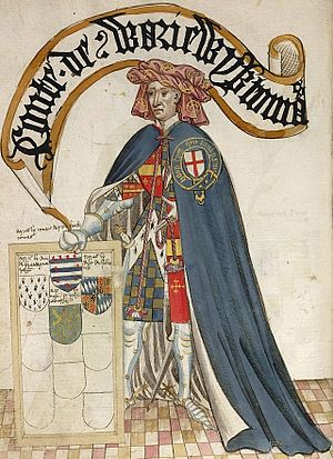 Thomas de Beauchamp, 11th Earl of Warwick - Thomas de Beauchamp, 11th Earl of Warwick, KG, third founder knight of the Order of the Garter, shown wearing his garter robes over his tunic showing the arms of Beauchamp quartering Newburgh. Illustration from the 1430 Bruges Garter Book made by William Bruges (1375–1450), first Garter King of Arms