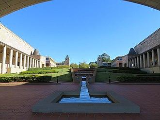 Bond University - Water cascade, bell tower and clock tower
