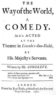 A black and white facsimile of the front cover of the original 1700 edition of the play