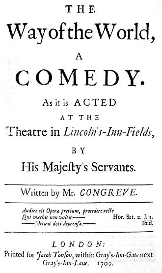 Epigraph (literature) - Facsimile of the original title page for William Congreve's The Way of the World published in 1700, on which the epigraph from Horace's Satires can be seen in the bottom quarter.