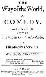Facsimile of the original title page for William Congreve's The Way of the World published in 1700, on which the epigraph can be seen in the bottom quarter.