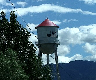 Twin Bridges, Montana - Welcoming water tower from a ranch road