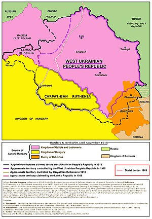 Ruthenia -  Map of the areas claimed and controlled by the Carpathian Ruthenia, the Lemko Republic and the West Ukrainian People's Republic in 1918