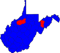 West Virginia Senatorial Election Results by county, 2008.png