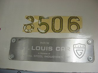 R30/A (New York City Subway car) - Build plate of the R30 car on display at the New York Transit Museum.