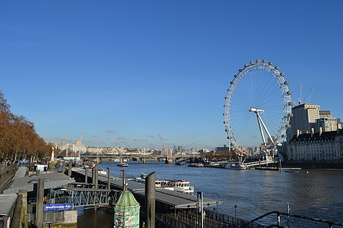A view from Westminster Millennium Pier on the River Thames, December 2018 Westminster Pier 2018.jpg