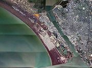 Aerial photo of southern Mare Island and the shipyard facility