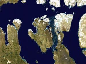 Prince of Wales Island (Nunavut) - Satellite photo montage of Prince of Wales Island and its neighbours