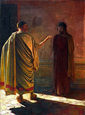 Religious views on truth - Nikolai Ge's What is Truth?, depicting the New Testament account of the question as posed by Pilate to Jesus.