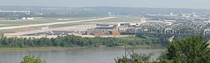 Charles B. Wheeler Downtown Airport - The airport from Quality Hill.  The Buck O'Neil Bridge is on the right.  The Fairfax Assembly plant (the former Fairfax Airport) is the big building across the Missouri River on the left.