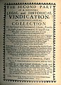 William Prynne, The First and Second Part of a Seasonable, Legal, and Historicall Vindication ... (2nd ed, 1655, Second Part title page).jpg