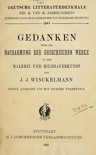 Johann Joachim Winckelmann - Gedanken über die nachahmung der griechischen Werke in der Malerei und Bildhauerkunst (1885)