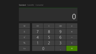 Features new to Windows 8 - The Calculator app running in Windows 8.1