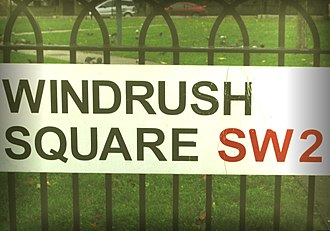 British African-Caribbean people - In 1998, an area of public open space in Brixton was renamed Windrush Square to commemorate the 50th anniversary of the arrival of the ship bringing the first large group of West Indian migrants to the United Kingdom.